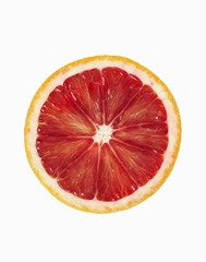 Blood Orange Slice on a White Background