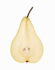 Bosc Pear Slice on White Background