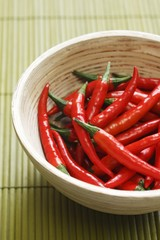 Red chillies in bowl