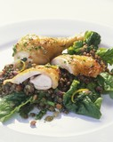 Chicken on lentils and spinach