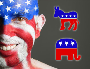 Man face flag USA, democrat and republican symbols