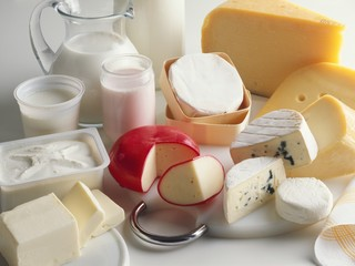 Still life with milk and dairy products
