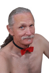 Middle aged man wearing red bowtie