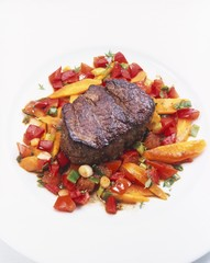 Beef fillet on braised vegetables