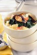 Vegetable stew with mussels, spinach and saffron