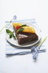 Chocolate rice dessert with caramelised orange
