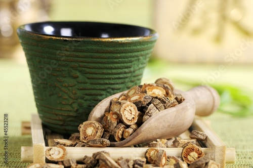 Saposhnikovia root in tea strainer, bowl of tea