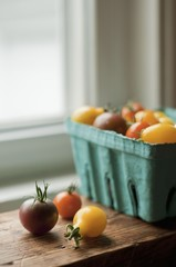 Black Cherry, Sun Gold and Yellow Pear Tomatoes from a Maine Garden