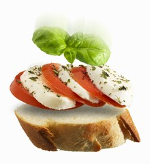 A slice of baguette topped with tomato, mozzarella and basil