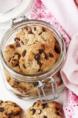 A jar of chocolate chip cookies