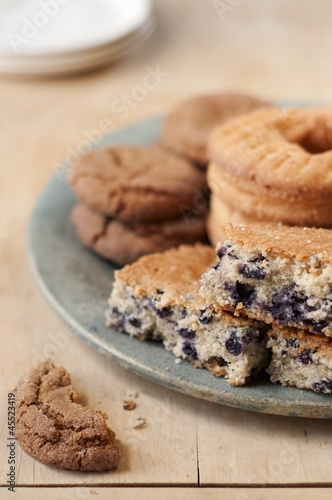 Baked Goods; Molasses Ginger Cookies, Blueberry Cake and Old Fashioned Donuts