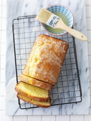 Lemon and yoghurt bread on a wire rack