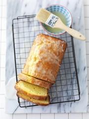 Lemon and yoghurt bread on a wire rack