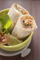 Roast beef wraps in a lunch box