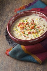 Bowl of Clam and Corn Chowder with Bacon