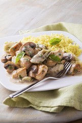Basil Chicken in a Creamy Sauce with Artichoke Hearts and Mushrooms; Rice