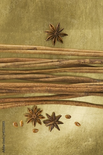Christmas spices (cinnamon sticks and star anise)