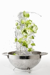 Romanesco broccoli with a water splash in a colander