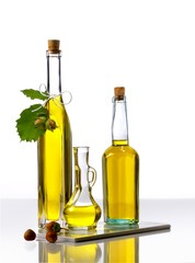 Three bottles of hazel nut oil
