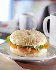 Sesame bagel with salmon and cream cheese