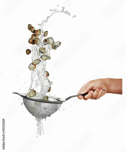 Washing mussels in a sieve