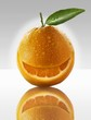 One orange with a slice taken out of it