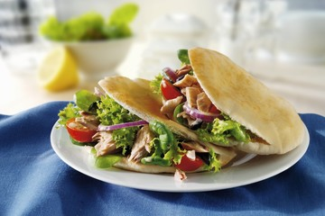 Pita bread filled with tuna salad