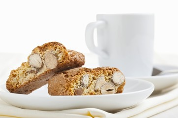 Biscotti (Italian almond biscuits) on a white plate