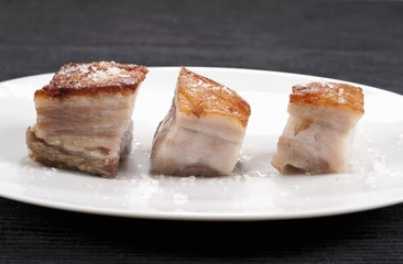Pork Belly Pieces on Wood
