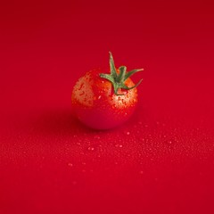 A wet tomato on a red surface