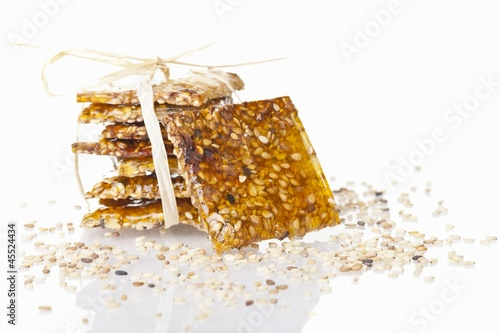 Sesame brittle against white background