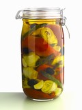 Pickled vegetables in a jar