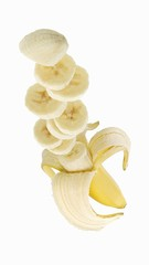 A banana, partially sliced