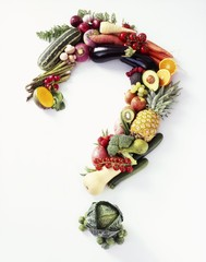 Fresh Fruit and Veggies Forming a Question Mark on a White Background