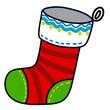 Christmas sock hand writing cartoon.