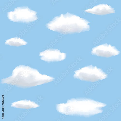 Aluminium Hemel Seamless background with clouds on sky.