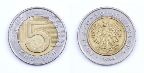 Old Polish money isolated. 5 Zloty coin 1994