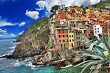 Fototapeta scenic Italy. Riomaggiore village, Cinque terre