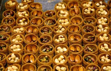 Close-up traditional Turkish baklava cakes (sweet dessert)