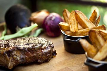 Viande, bœuf, steak, frites, cuisine, plat, aliment, repas