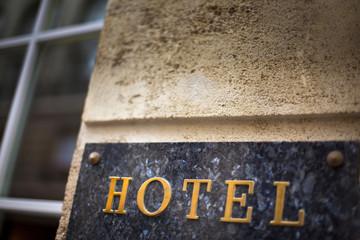 Hôtel, plaque, façade, tourisme, entrée, marbre, commerce