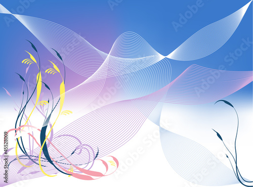 Foliage and waves lines background,  element for design