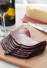 Thin sliced deli pastrami meat