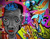 Graffiti wall urban art background. Grunge hip hop design - 45529208