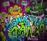 Fototapety Graffiti wall urban art background. Grunge hip hop design