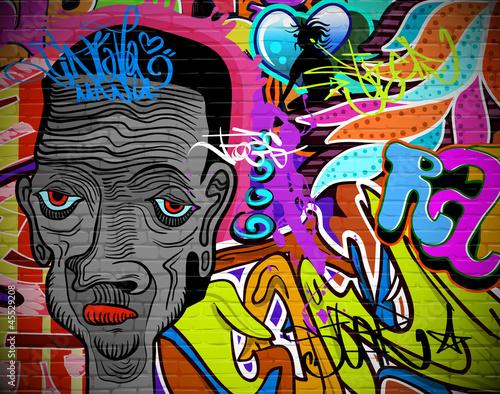 Graffiti wall urban art background. Grunge hip hop design - 45529208