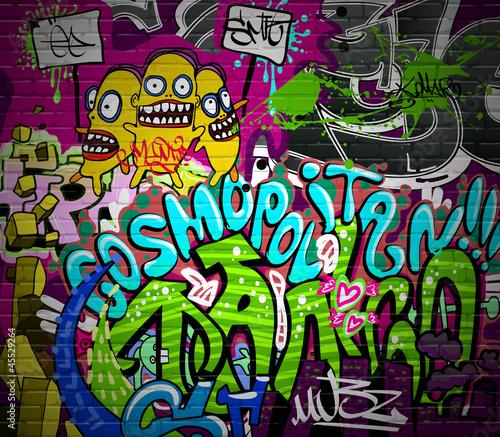 mata magnetyczna Graffiti mur miejski sztuka tło. Grunge design hip hop