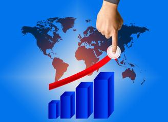 Business man hand graph