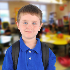 School Boy in Classroom