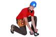 young craftsman kneeling down